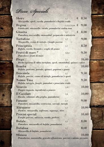 menu pizze speciali