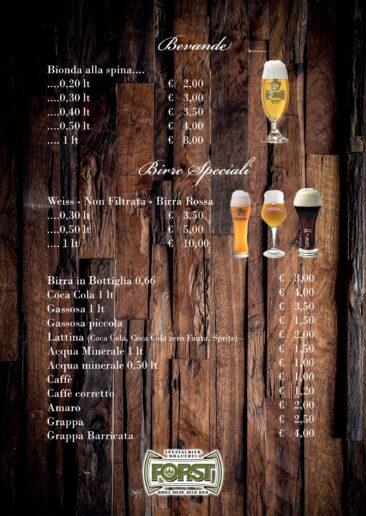 menu bevande e birre
