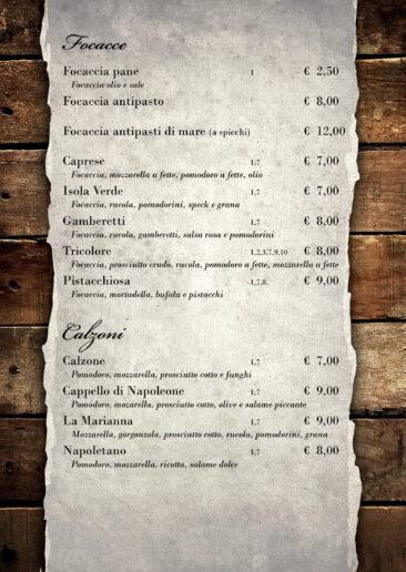 menu focacce e calzoni