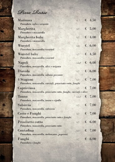 menu pizze rosse
