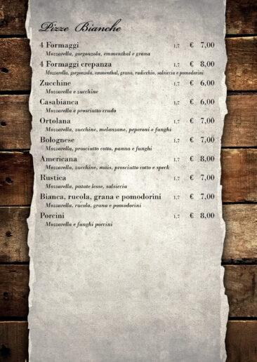 menu pizze bianche